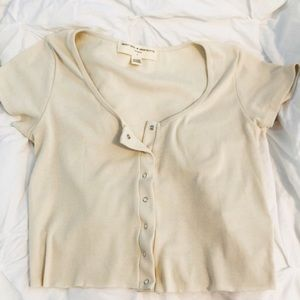 Urban Outfitters Button Up/Down Cropped Baby Tee